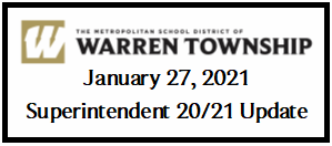 January 27, 2021 Superintendent 20/21 Update
