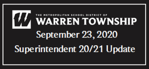 September 23, 2020 Superintendent 20/21 Update