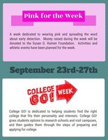 Pink Week & College GO! Sept. 23-27