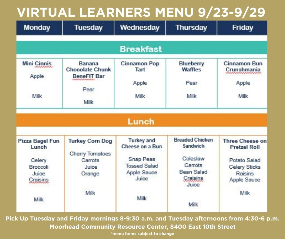 Virtual Learners Menu 9/23-10/2
