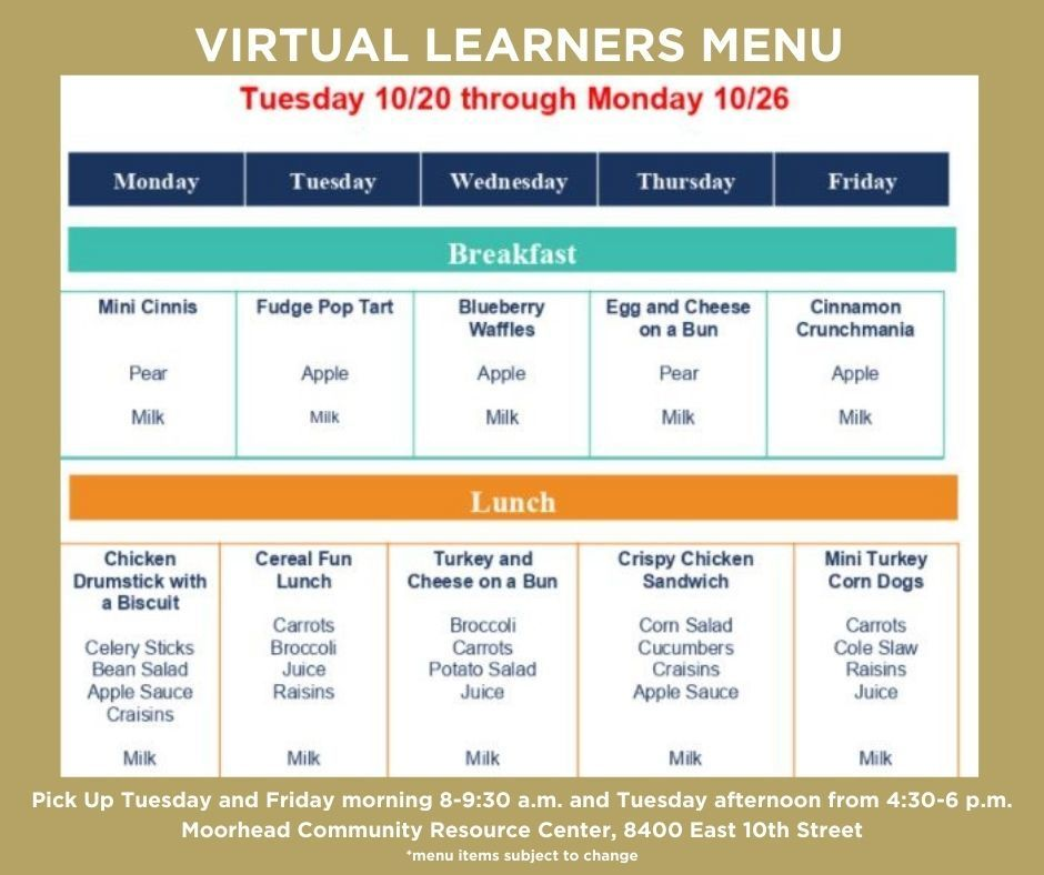 Virtual Learners Menu 10/20-10/26