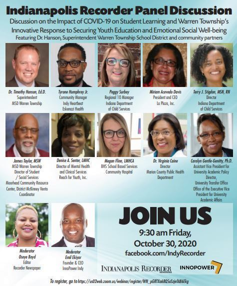 Indianapolis Recorder Panel Discussion 10/30 at 9:30 a.m.