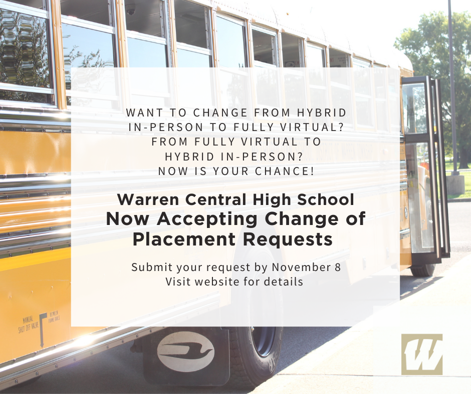 WCHS Now Accepting Change of Placement Requests thru Nov. 8