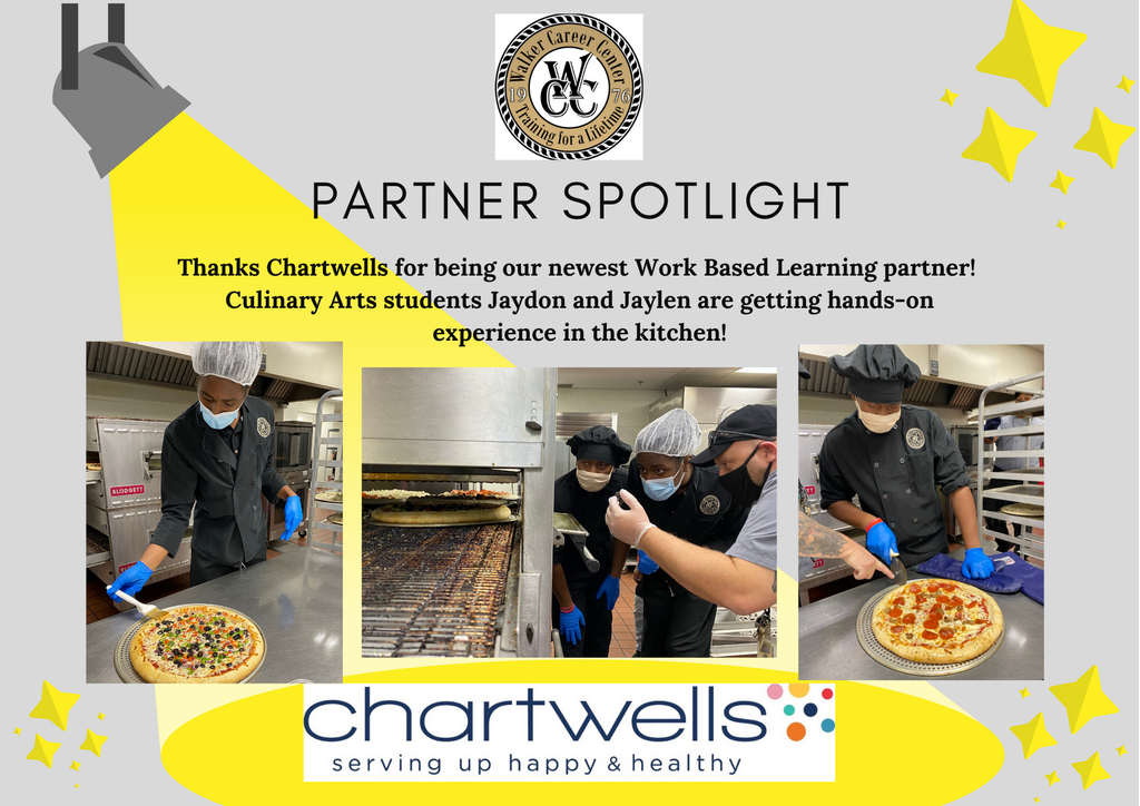 Culinary arts students working at Chartwells