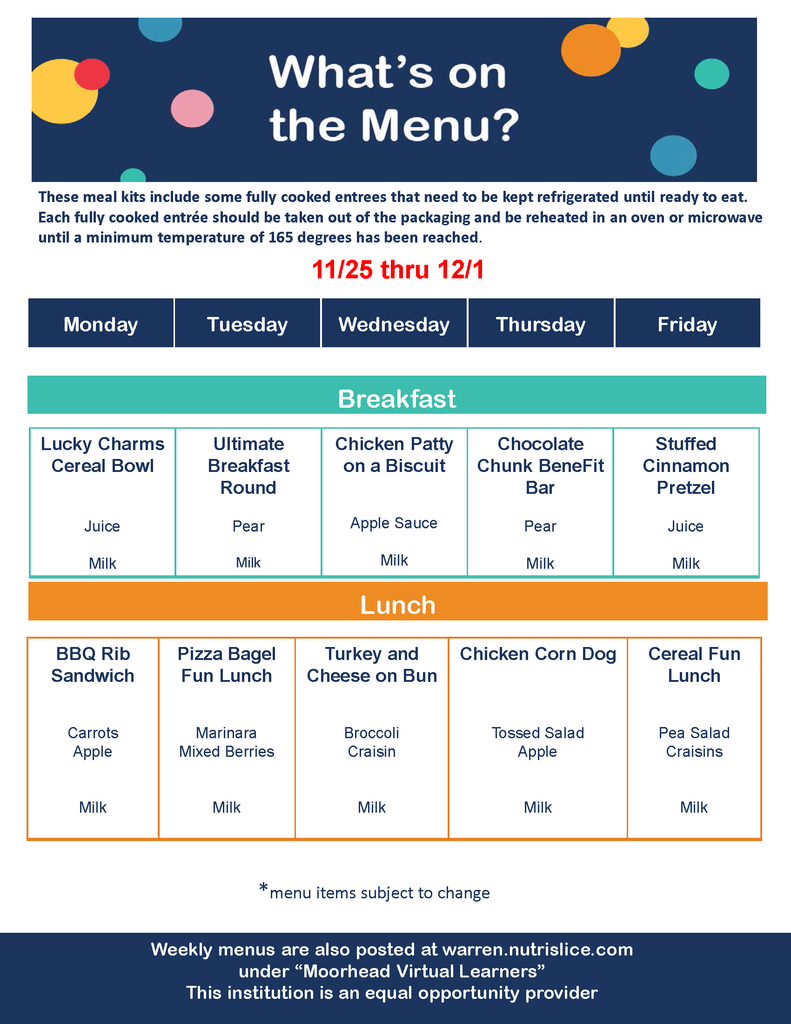 Meal Distribution Breakfast & Lunch Menu 11/25-12/1/20