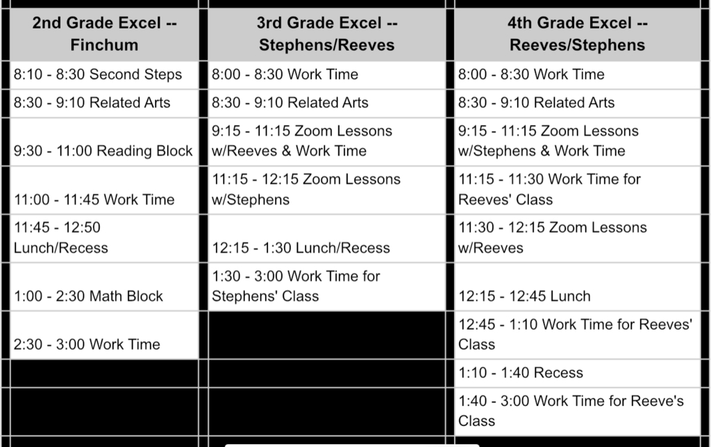 Excel  2nd - 4th Grade Virtual Schedules