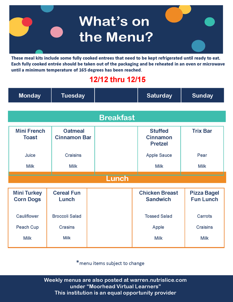 Meal Distribution Breakfast & Lunch Menu 12/12-12/15/20