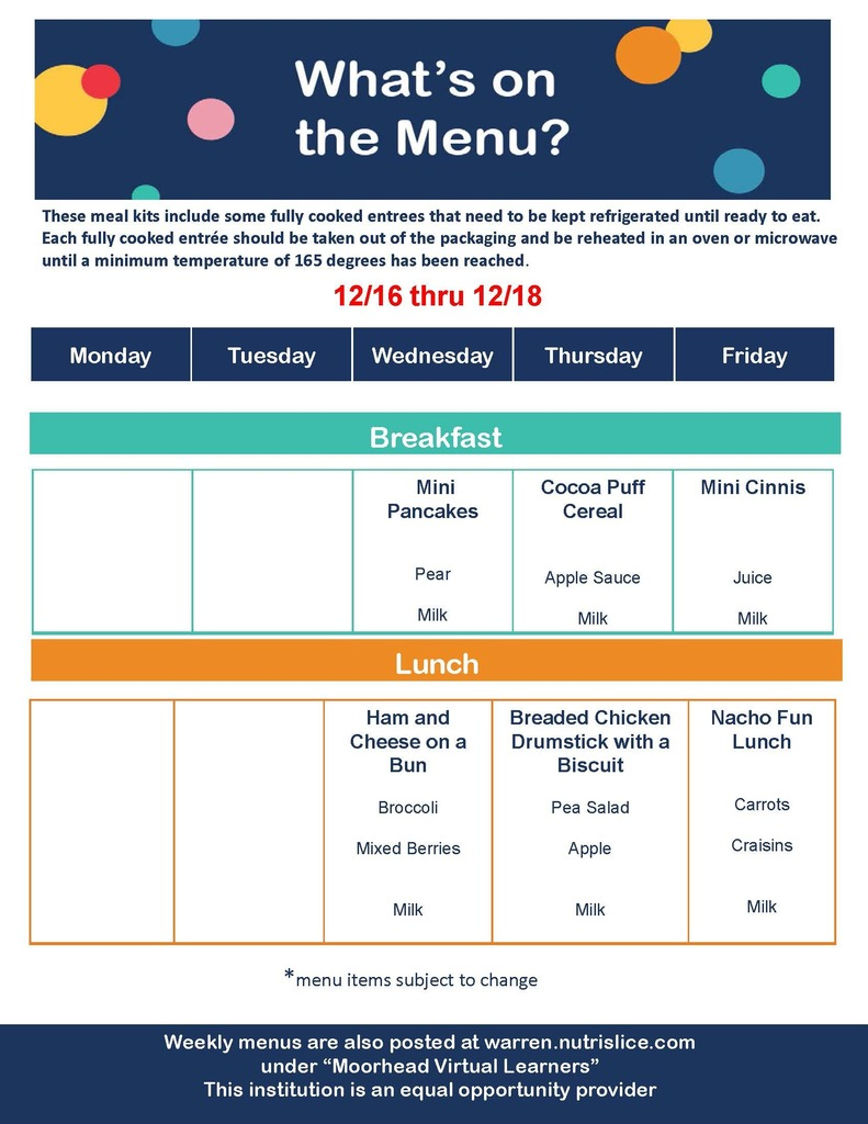 Meal Distribution Breakfast & Lunch Menu 12/16-12/18