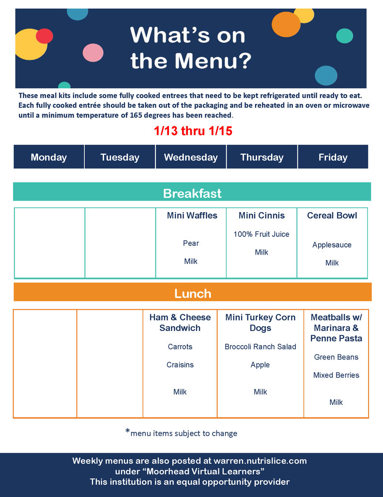 Meal Distribution Breakfast & Lunch Menu 1/13-1/15
