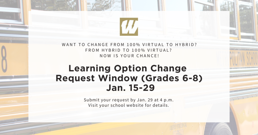 Learning Option Change Request Window (Grades 6-8) Open Jan. 15-29