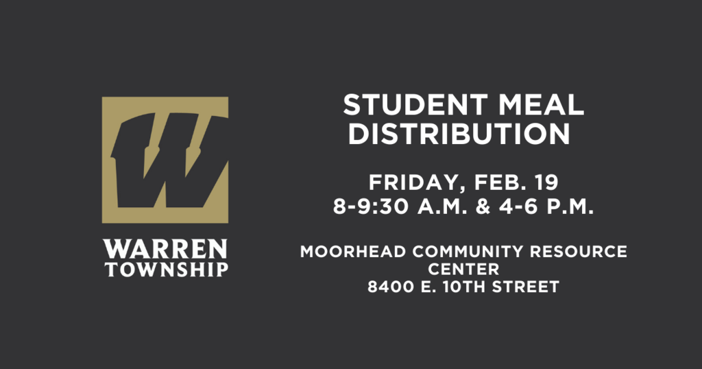 Student Meal Distribution Friday , Feb. 19 from 8-9:30 a.m. and 4-6 p.m.