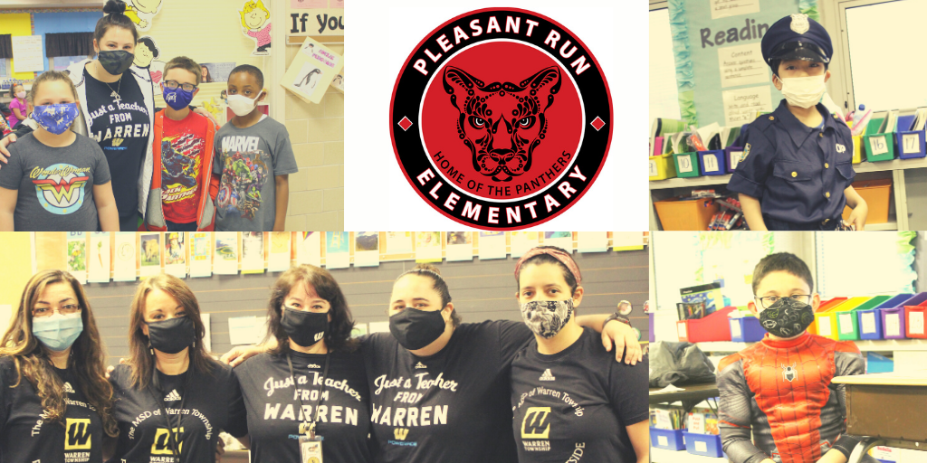 Images of students in super hero costumes ; Warren educators wearing Warren Township t-shirts
