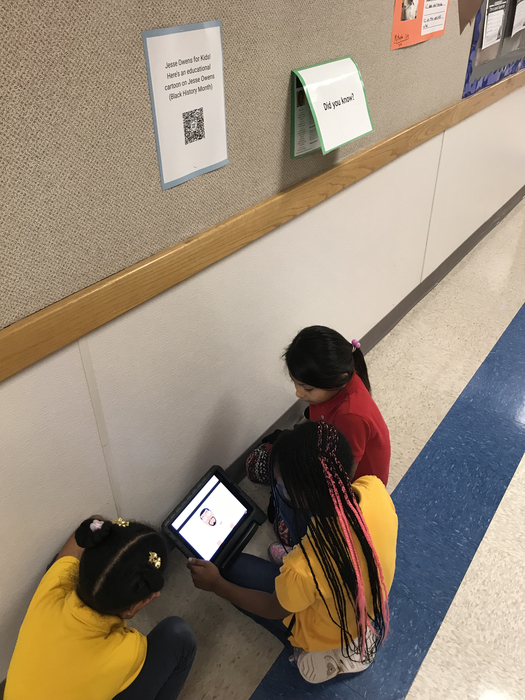 Students watching a video