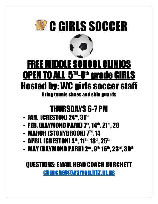 Grade 5-8 Girls Soccer Clinic Flyer Information
