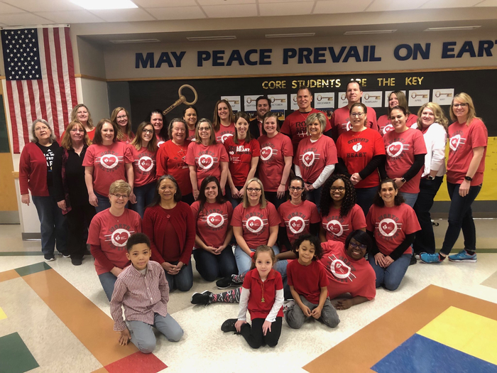 Staff and students on wear red day