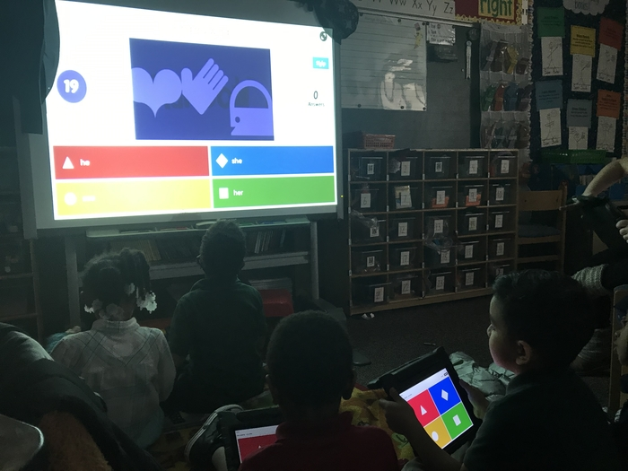 Mrs. Hess's Kindergarten class playing Kahoot.