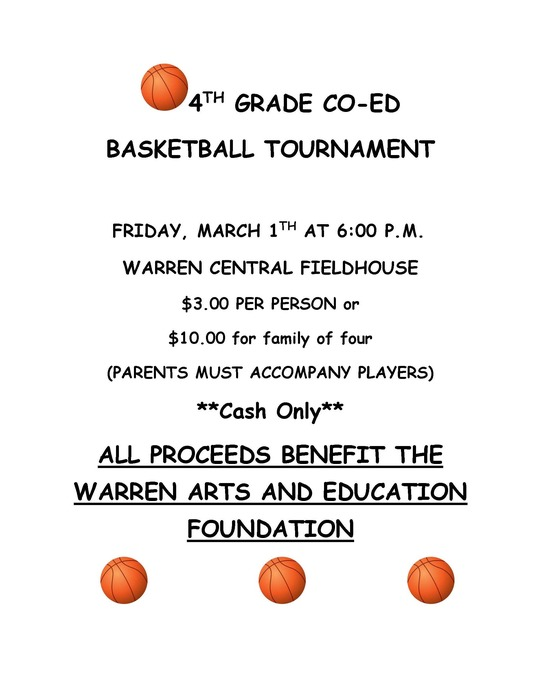 4th Grade Basketball Tournament Flyer