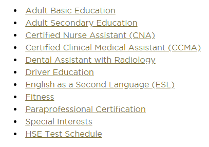 Adult Education Course Offerings