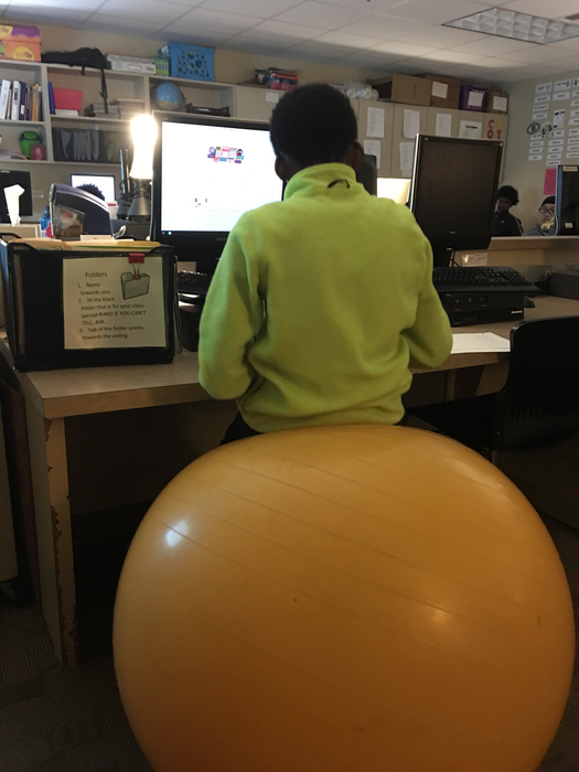 Stability ball in classroom