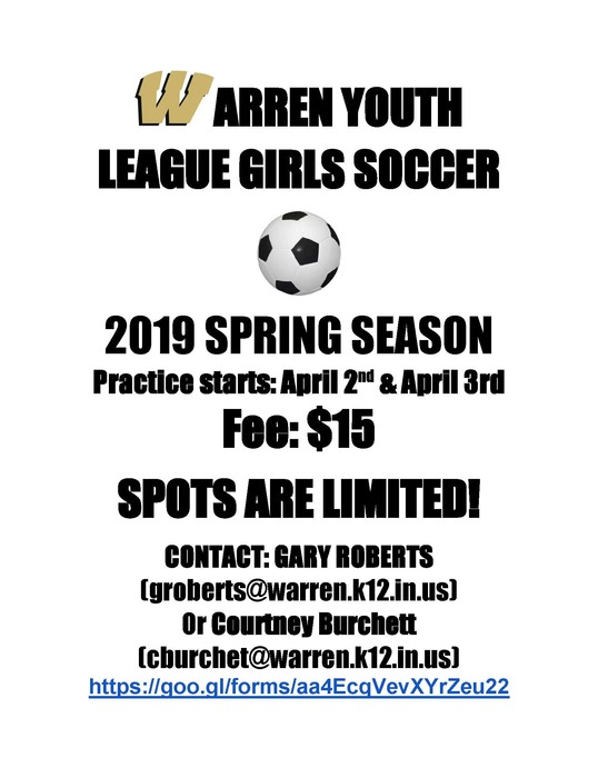 Warren Youth League Soccer Flyer
