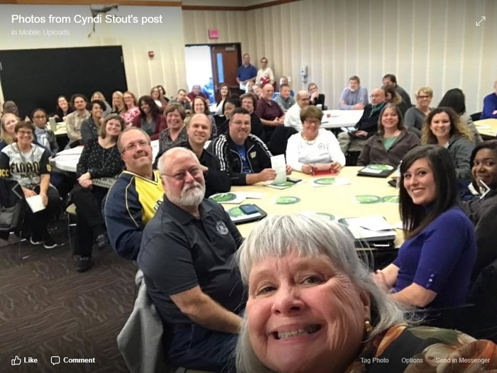 Teachers smiling for a selfie with Ivy Tech director of K-12 initiatives