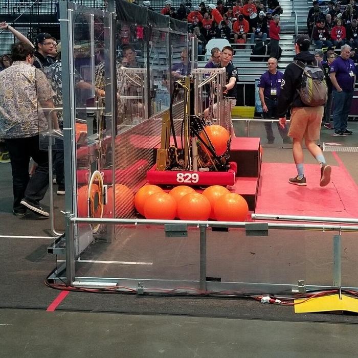 The Warren Robotics 829 team competing at the World Championship.