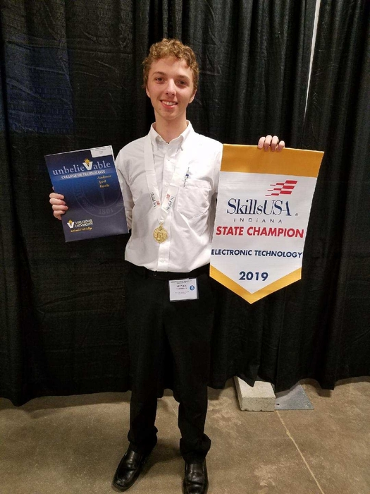 Steven Thompson wins State at the Skills-USA Electronics competition.