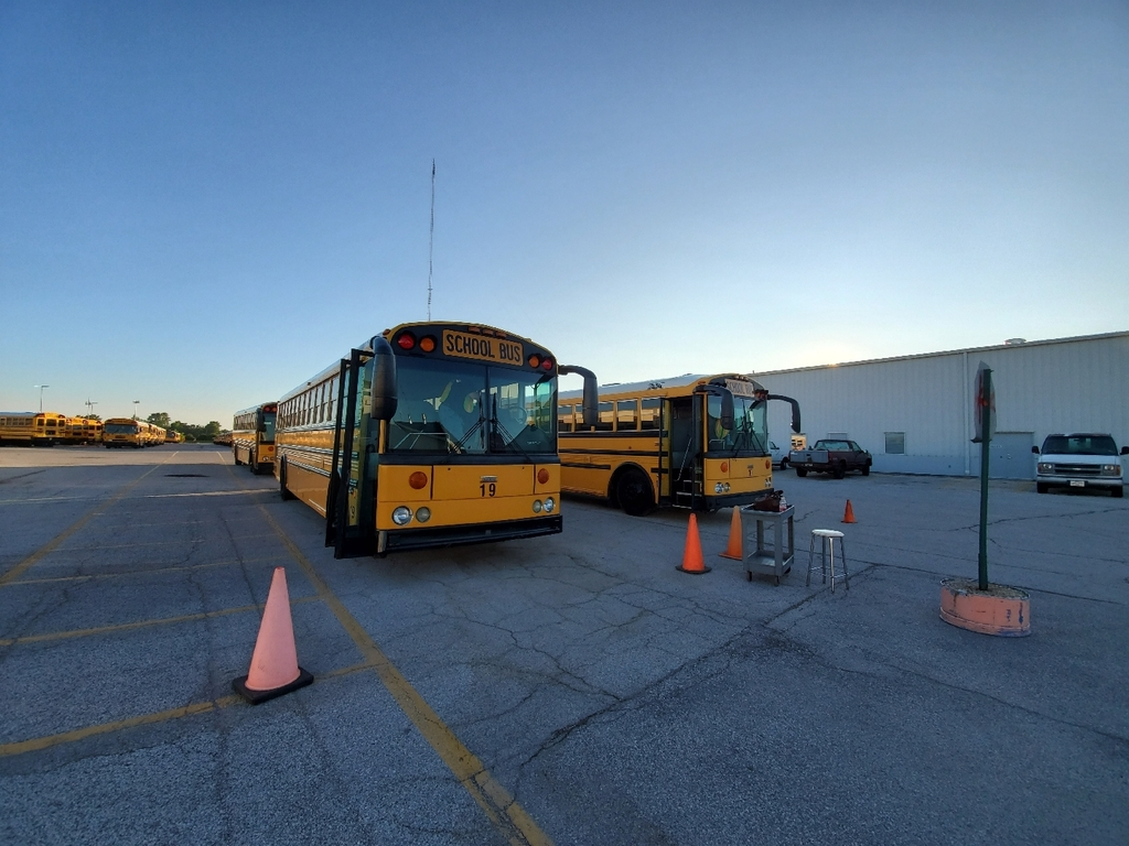 Buses are lined up and ready to begin
