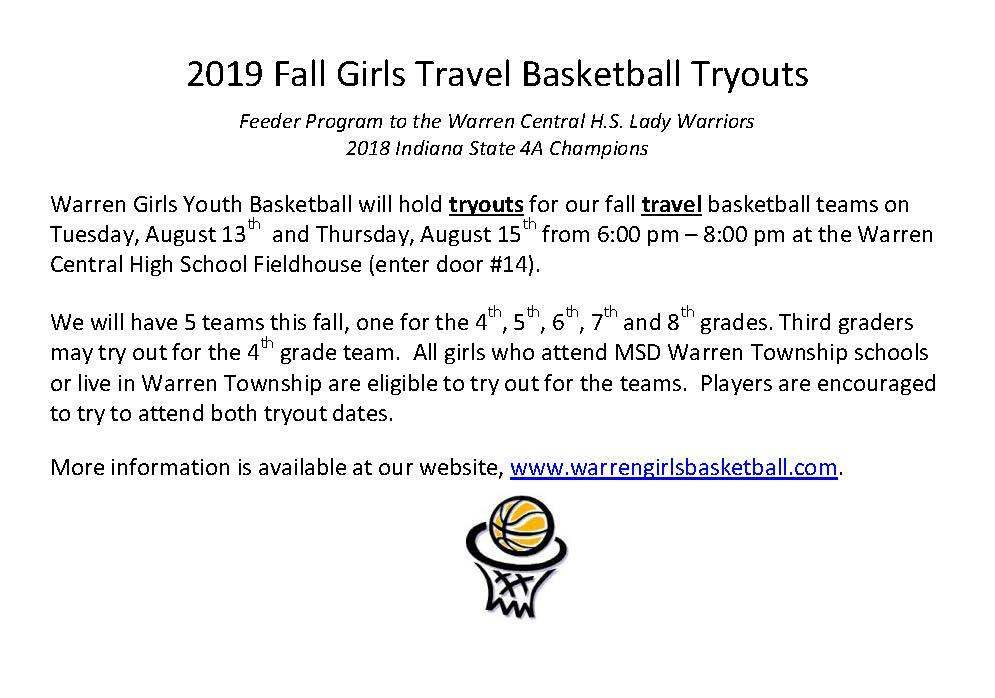 Warren Girls Tryout Basketball Flyer