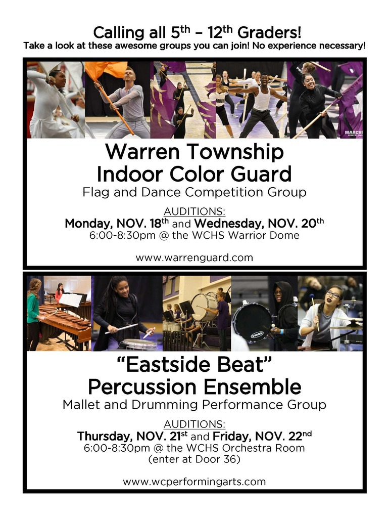 Guard and Percussion Sign Up Flyer