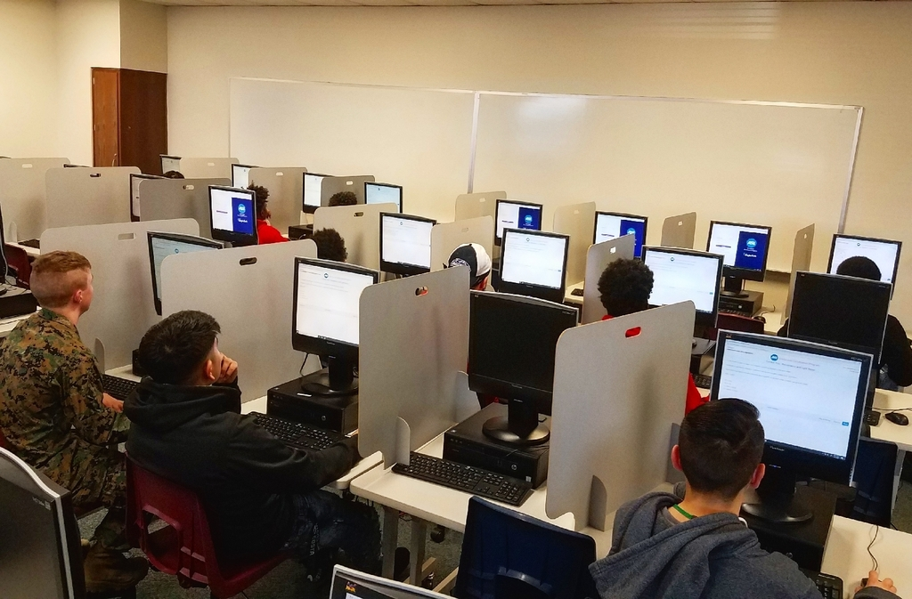 students testing for a certification