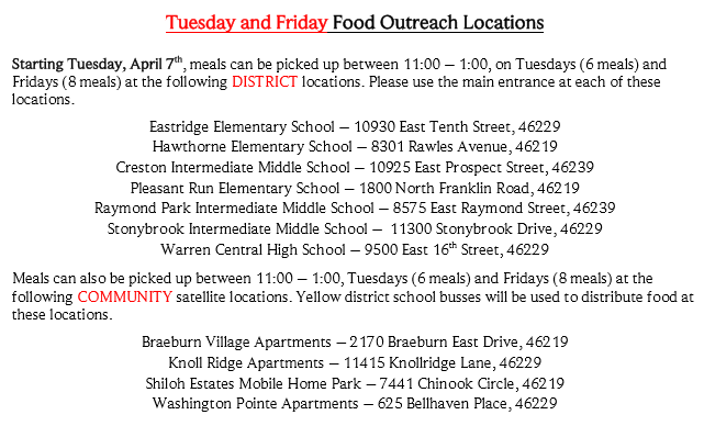 Tuesday/Friday Meal Distribution