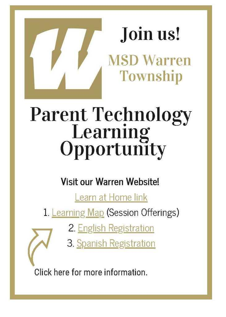 Parent Technology Learning Opportunity flyer