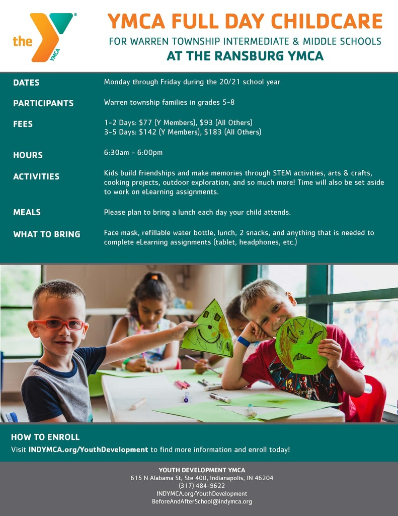 YMCA Grades 5-8 Childcare Flyer