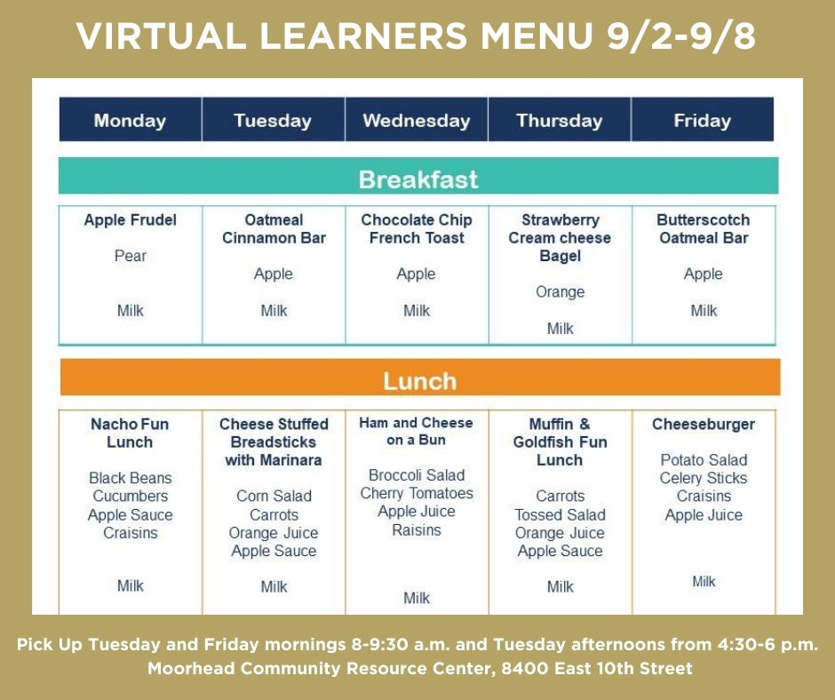 Virtual Learners Menu 9/2-9/8