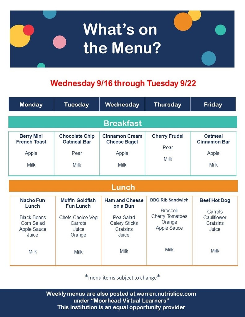 Menu for Virtual Learners Week of September 16-22, 2020