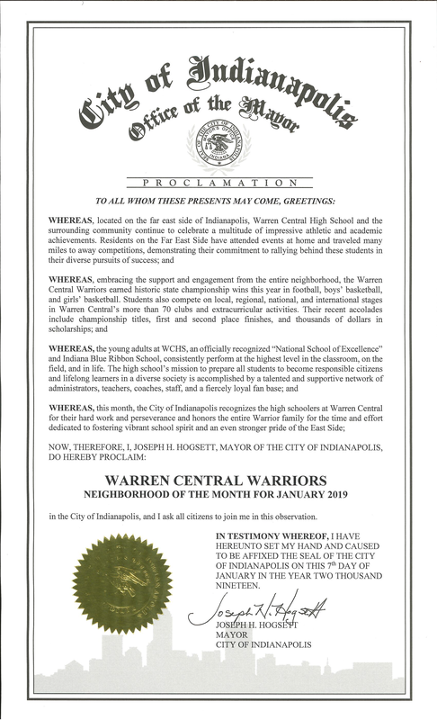 Warren Central Warriors Mayor's Proclamation